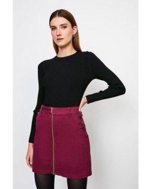 Karen Millen Stretch Twill Front Zip Button Skirt -, Red