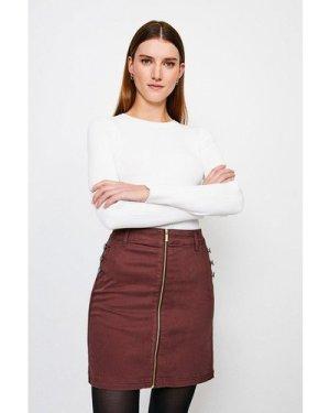Karen Millen Stretch Twill Front Zip Button Skirt -, Brown