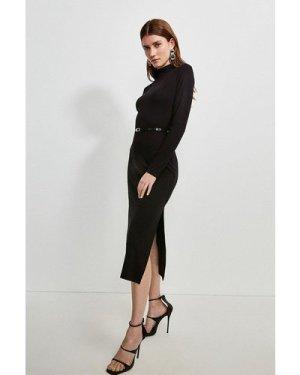 Karen Millen Jersey Belted Drape Midi Dress -, Black