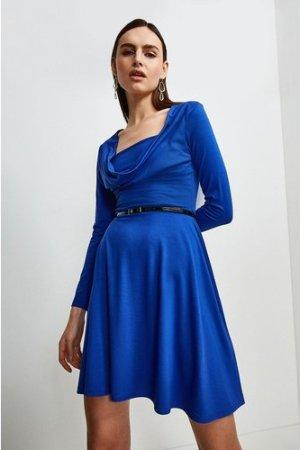 Karen Millen Jersey Cowl Layered Belted Dress -, Blue