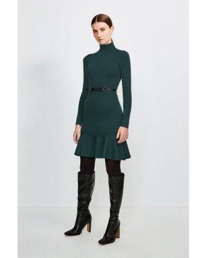 Karen Millen Knitted Roll Neck Belted Flippy Hem Dress -, Green