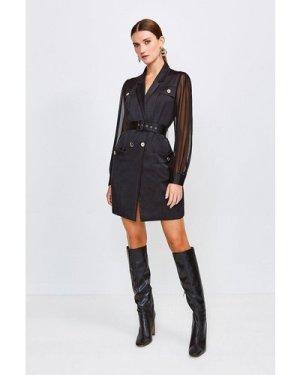 Karen Millen Sheer and Opaque Belted Dress -, Black