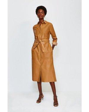 Karen Millen Leather Long Sleeve Shirt Dress -, Cashew