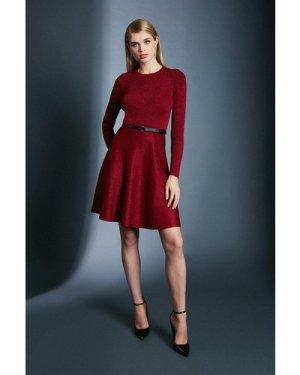 Karen Millen Sparkle Knit Rib Crew Neck Skater Dress -, Red