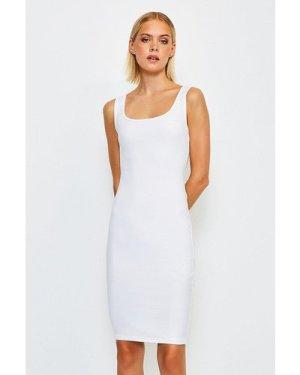 Karen Millen Smooth Essential Scoop Neck Slip Midi Dress -, White