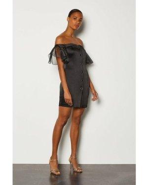 Karen Millen Bardot Button Front Organza Sleeve Mini Dress -, Black