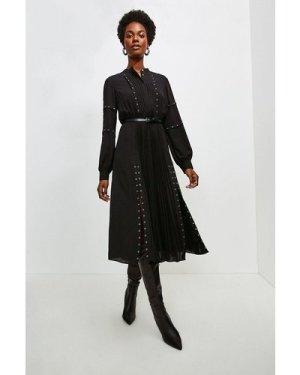 Karen Millen Pintuck And Eyelet Detail Dress -, Black