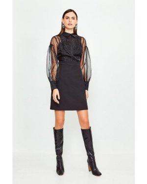 Karen Millen Organza Blouson Sleeve Dress -, Black