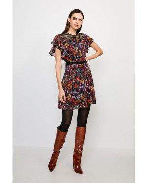 Karen Millen Floral Print Lace Insert Dress -, Black