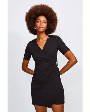 Karen Millen Twist Waist Ponte V Neck Dress -, Black