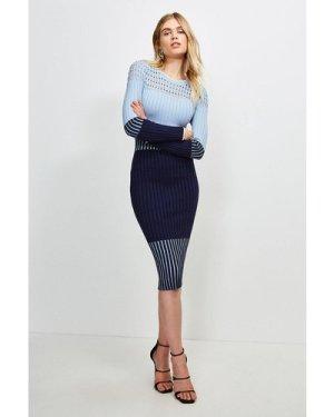 Karen Millen Pointelle Detail Colour Block Knit Dress -, Blue