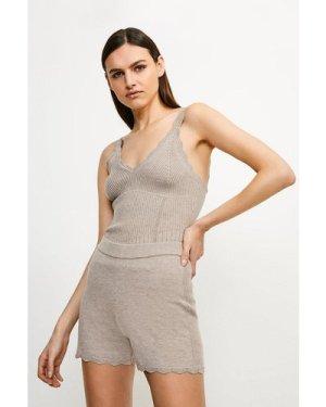 Karen Millen Rib Knit Corset Shorts - Taupe, Brown