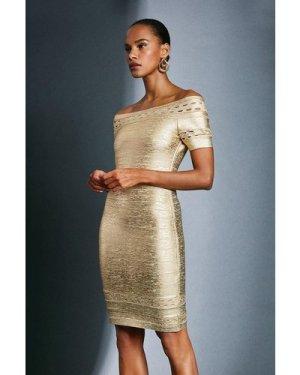 Karen Millen Metallic Bardot Bandage Dress -, Gold