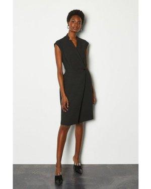 Karen Millen Collar Wrap Sleeveless Midi Dress -, Black