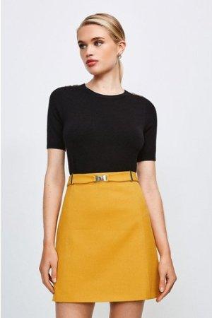 Karen Millen Forever Cinch Belted A Line Skirt -, Orange