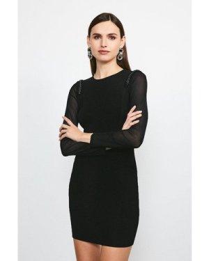 Karen Millen Chain Shoulder Mesh Sleeve Knitted Dress -, Black