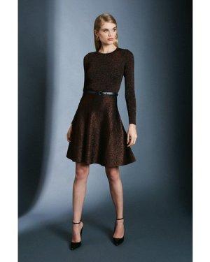 Karen Millen Sparkle Knit Rib Crew Neck Skater Dress -, Black