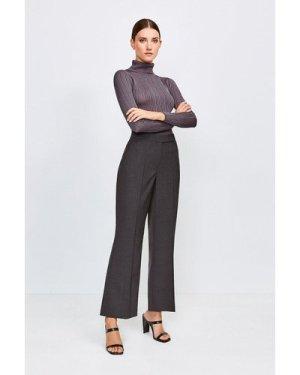 Karen Millen Polished Stretch Wool Blend Wide Leg Trouser -, Charcoal