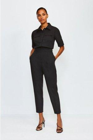 Karen Millen Clean Utility Tapered Trousers -, Black