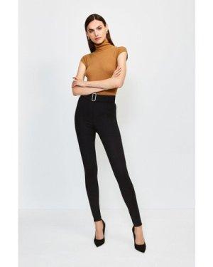 Karen Millen Ponte Belted Skinny Trousers -, Black