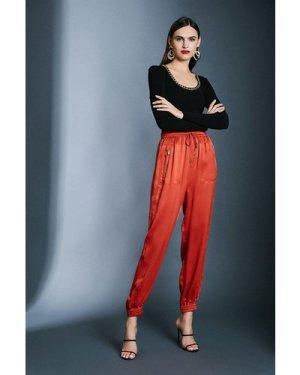 Karen Millen Luxe Sandwash Silk Trousers -, Tan