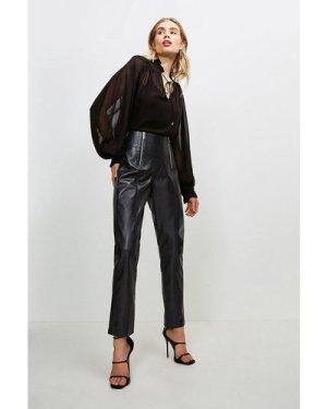 Karen Millen Leather Zip Waist Trouser -, Navy