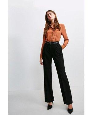 Karen Millen Pinstripe High Waisted Trousers -, Black