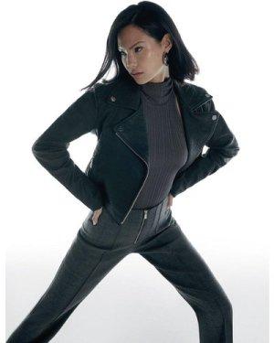 Karen Millen Italian Stretch Wool Zip Detail Trouser -, Grey