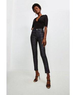 Karen Millen Animal Jacquard Skinny Jean -, Black