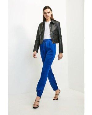 Karen Millen Luxe Crepe Satin Jogger -, Blue