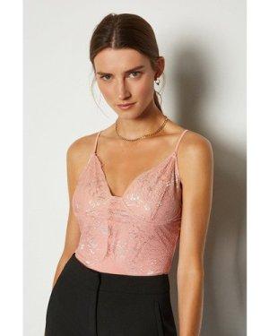 Karen Millen Strappy Lace Bodysuit -, Pink