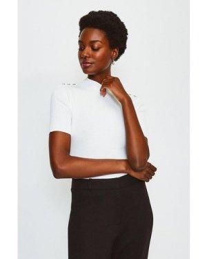 Karen Millen Short Sleeve Rivet Detail Rib Knitted Top -, Ivory