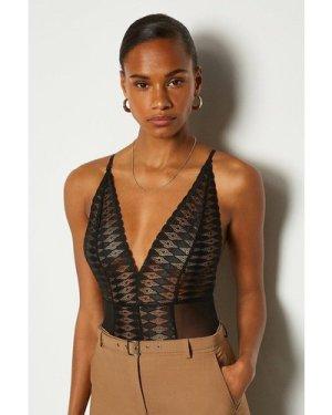 Karen Millen Strappy Lace Plunge Neck Cross Back Body -, Black