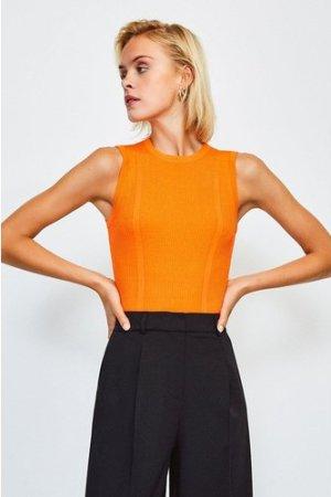 Karen Millen Rib Knitted Sleeveless Top -, Orange