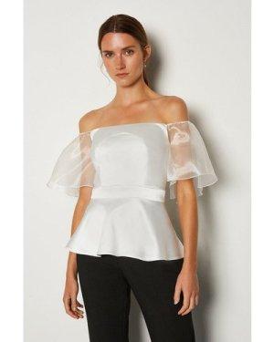 Karen Millen Bardot Cut Out Organza Sleeve Top -, Ivory