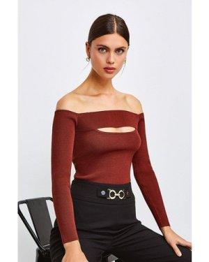 Karen Millen Knitted Rib Bardot Peep Hole Top -, Red