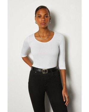Karen Millen Cotton Jersey 3/4 Sleeve Scoop Neck T-Shirt -, White