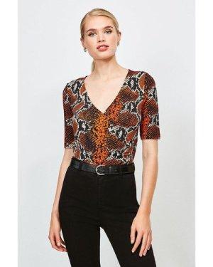 Karen Millen Viscose Jersey Print Wrap Top -, Brown