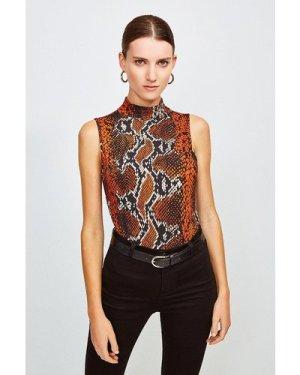 Karen Millen Viscose Jersey Print Sleeveless Funnel Top -, Brown