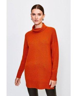 Karen Millen Cashmere Roll Neck Jumper -, Orange