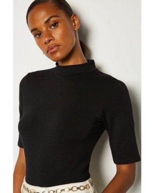 Karen Millen Short Sleeve Funnel Neck Viscose Jersey Top -, Black