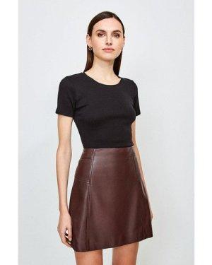 Karen Millen Essential Cotton Short Sleeved Crew Top -, Black