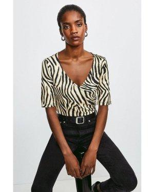 Karen Millen Viscose Jersey Print Wrap Top -, Zebra