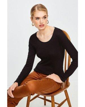 Karen Millen Essential Cotton Long Sleeved Scoop Neck Top -, Black