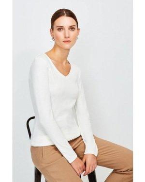 Karen Millen Essential Cotton Long Sleeved V Neck Top -, Ivory