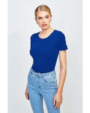 Karen Millen Essential Cotton Short Sleeved Crew Top -, Mid Blue