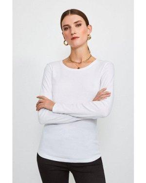 Karen Millen Essential Cotton Long Sleeved Crew Top -, White