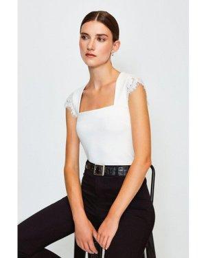 Karen Millen Lace Shoulder Square Neck Ponte Top -, Ivory