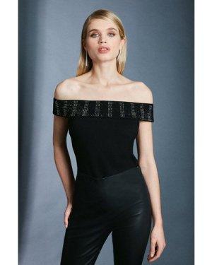 Karen Millen Hotfix Bardot Ponte Top -, Black