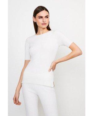 Karen Millen Knitted Short Sleeve Top -, Ivory